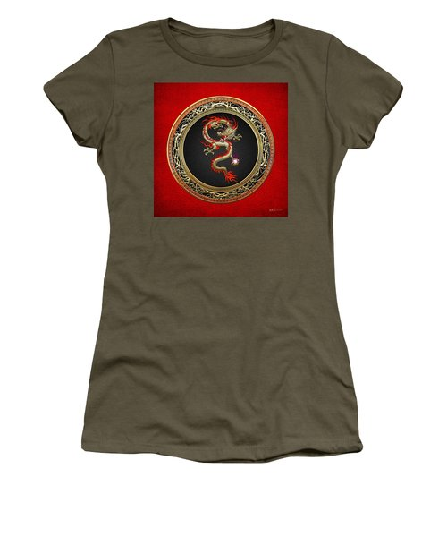Golden Chinese Dragon Fucanglong On Red Leather  Women's T-Shirt