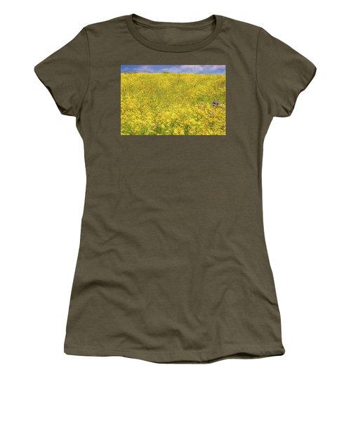 Women's T-Shirt (Junior Cut) featuring the photograph Golden Hillside by Marc Crumpler