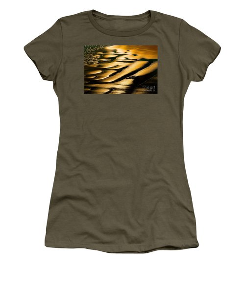 Golden Light On The Wet Sand, Point Reyes National Seashore Mar Women's T-Shirt (Junior Cut) by Wernher Krutein