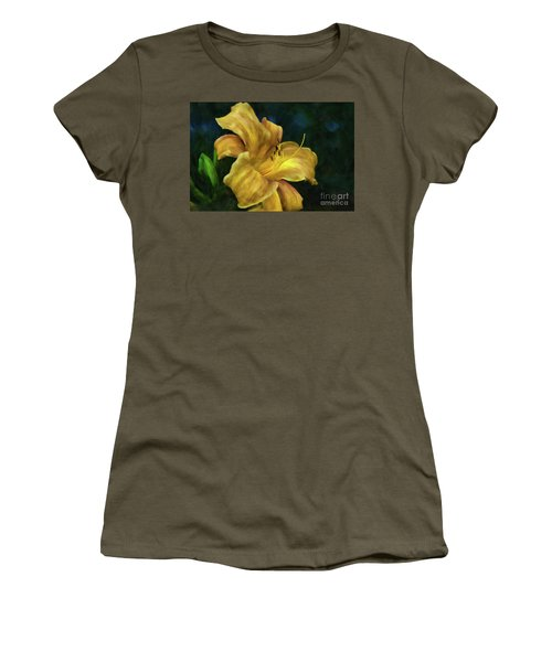 Women's T-Shirt (Athletic Fit) featuring the digital art Golden Lily by Lois Bryan