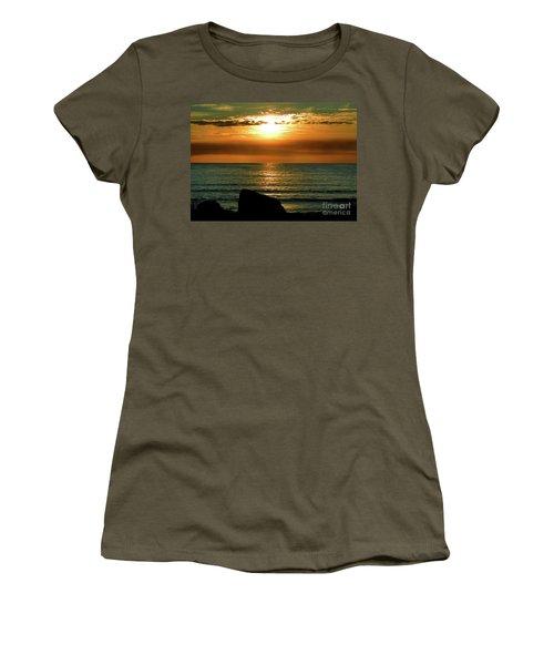 Women's T-Shirt (Junior Cut) featuring the photograph Golden Sunset At The Beach IIi by Mariola Bitner