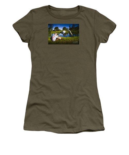 Women's T-Shirt featuring the photograph Golf Problem by Jorgo Photography - Wall Art Gallery