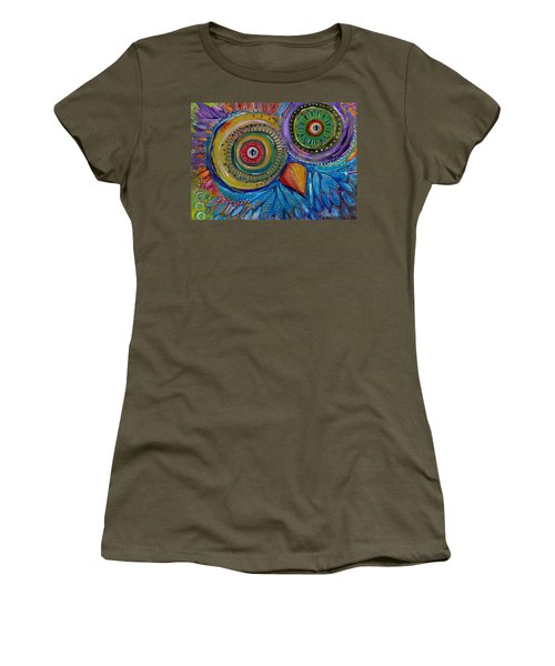 Women's T-Shirt (Junior Cut) featuring the painting Googly-eyed Owl by Tanielle Childers