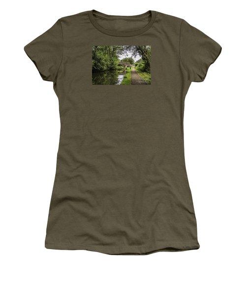 Goytre Wharf  Bridge Women's T-Shirt (Junior Cut) by Steve Purnell