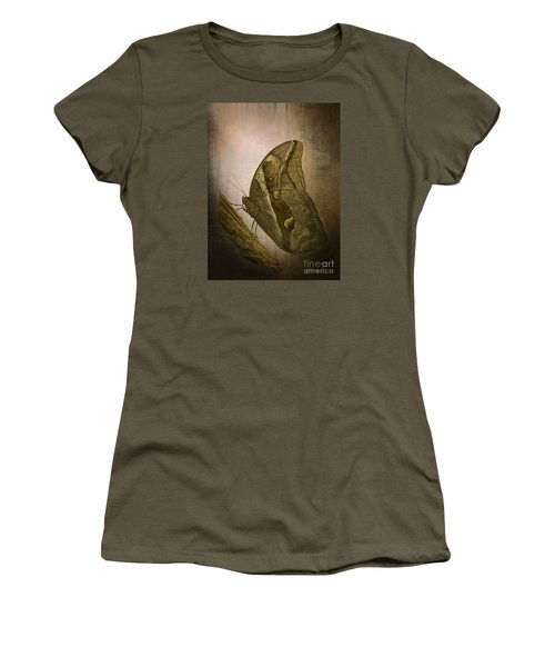 Women's T-Shirt (Junior Cut) featuring the photograph Graffic Owl Butterfly by Inge Riis McDonald