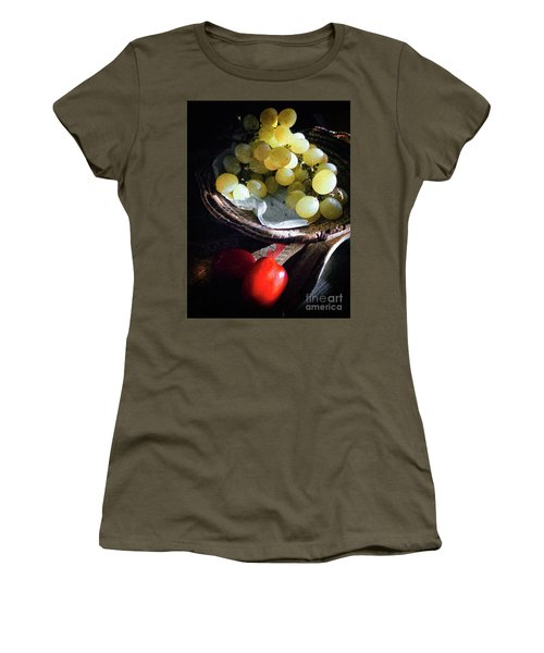 Women's T-Shirt (Athletic Fit) featuring the photograph Grapes And Tomatoes by Silvia Ganora