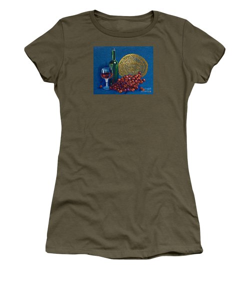 Grapes And Wine Women's T-Shirt (Junior Cut) by AnnaJo Vahle