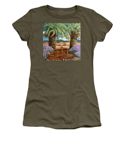 Women's T-Shirt (Athletic Fit) featuring the painting Gratitude Reminder  by Bonnie Heather