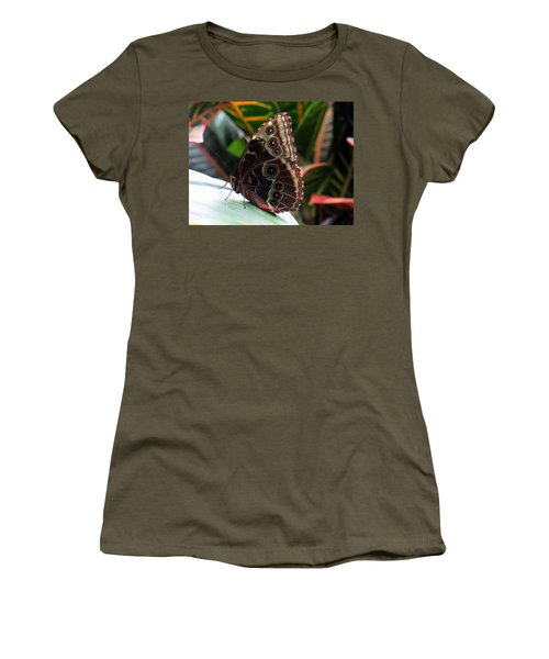 Gray Cracker Butterfly Women's T-Shirt (Athletic Fit)
