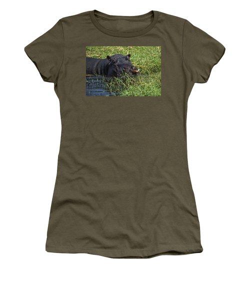 The Hippo And The Jacana Bird Women's T-Shirt