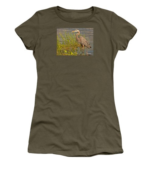 Women's T-Shirt (Junior Cut) featuring the photograph Great Blue At The Park by Don Durfee