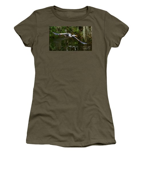 Great Blue Heron Flight Women's T-Shirt (Athletic Fit)