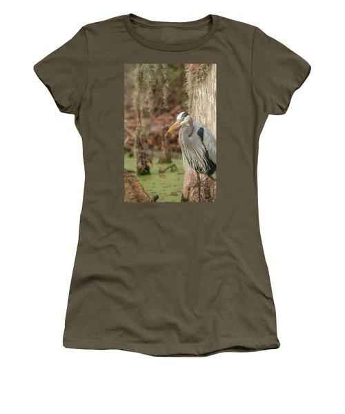 Great Blue Heron On Guard Women's T-Shirt
