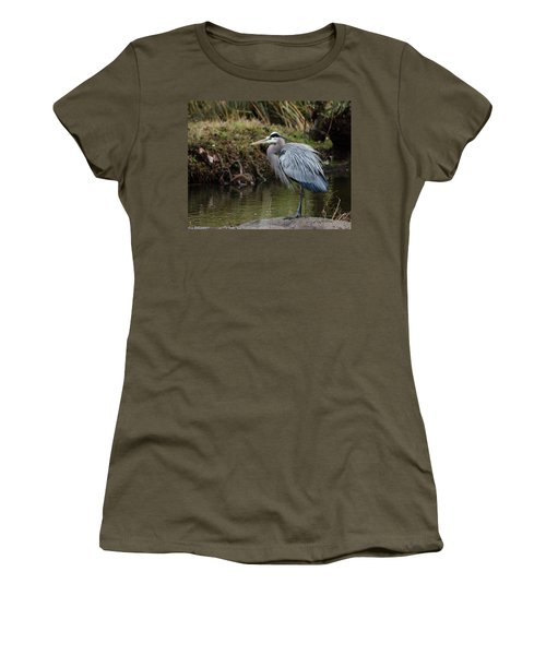 Great Blue Heron On The Watch Women's T-Shirt (Junior Cut) by George Randy Bass