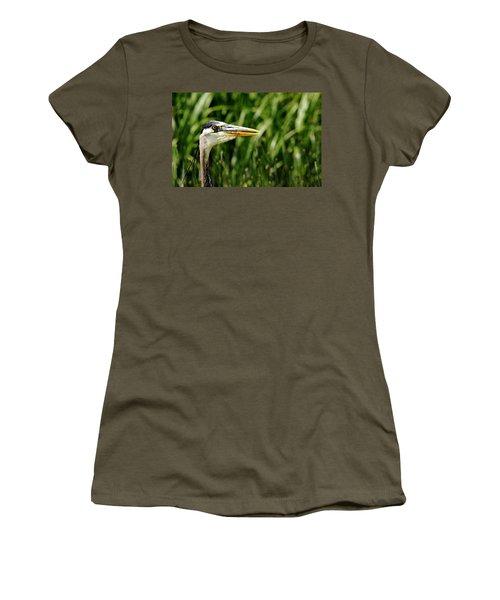 Great Blue Heron Portrait Women's T-Shirt (Junior Cut) by Debbie Oppermann