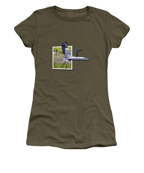 Great Blue Heron Takes Flight Women's T-Shirt (Athletic Fit)