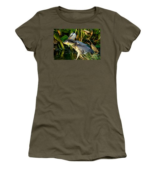 Great Blue Heron With Fish Women's T-Shirt