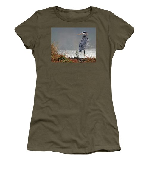Great Blue Heron Landscape Women's T-Shirt (Athletic Fit)