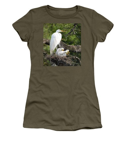 Great Egret Family  Women's T-Shirt (Athletic Fit)