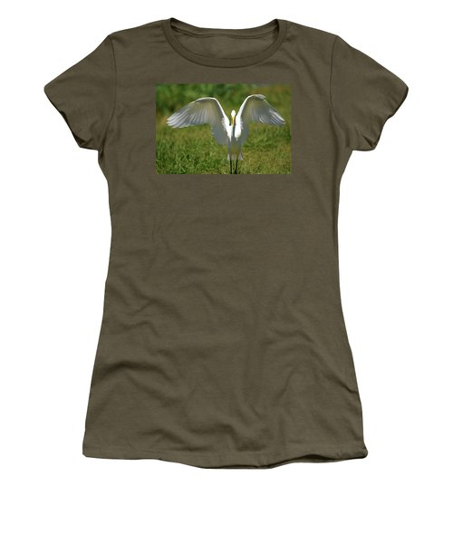 Great Egret In Unusual Portrait Women's T-Shirt (Athletic Fit)