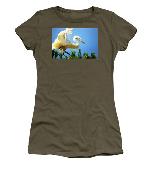 Great Egret Preparing For Treetop Landing 3 - Digitalart Women's T-Shirt (Athletic Fit)
