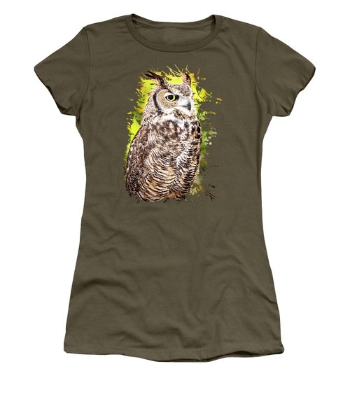 Women's T-Shirt featuring the photograph Great Horned Owl by David Millenheft