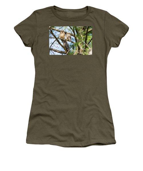 Great Horned Owl Family Women's T-Shirt