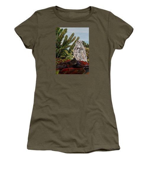 Women's T-Shirt (Junior Cut) featuring the painting Great Horned Owl - Owl On The Rocks by Marilyn  McNish