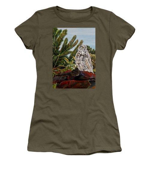 Great Horned Owl - Owl On The Rocks Women's T-Shirt