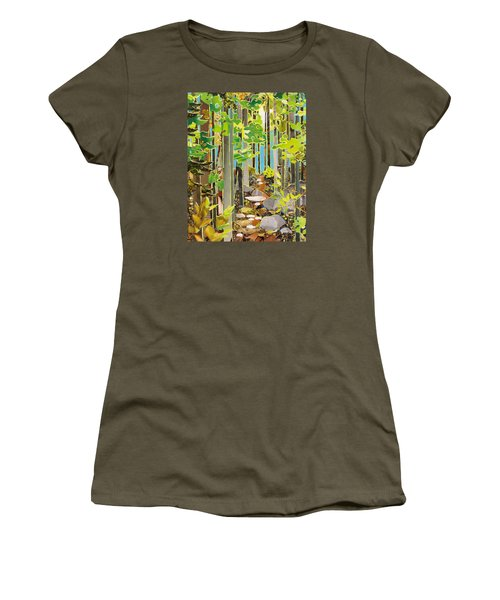 Great Maine Woods Women's T-Shirt (Junior Cut) by Robin Birrell