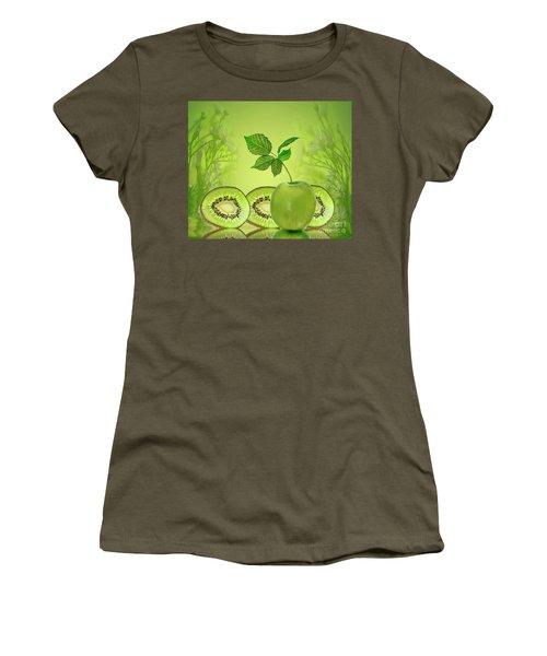 Greeeeeen Women's T-Shirt (Junior Cut) by Shirley Mangini