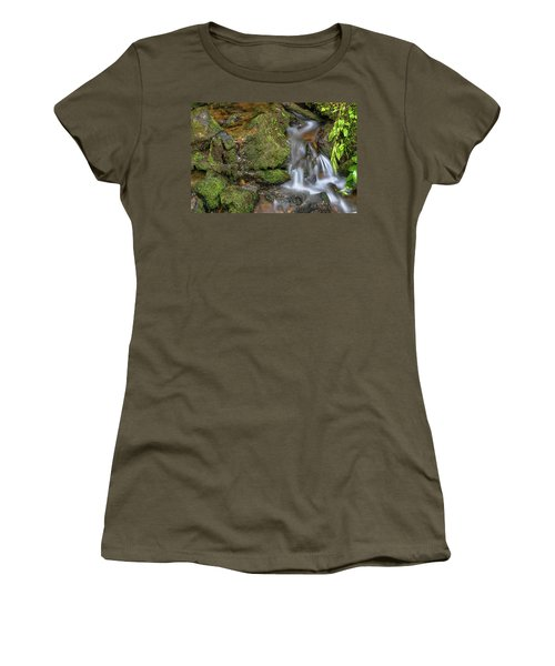 Women's T-Shirt (Athletic Fit) featuring the photograph Green And Mossy Water Flow by James BO Insogna