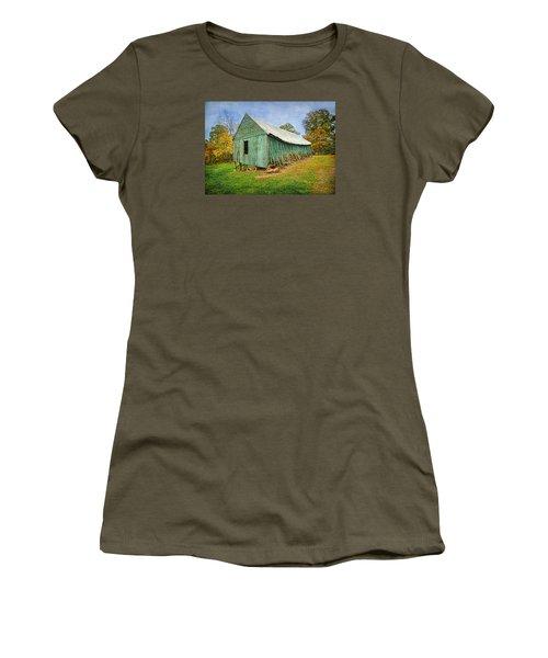 Green Barn Women's T-Shirt (Junior Cut) by Marion Johnson