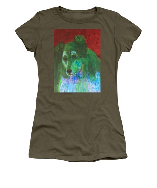 Women's T-Shirt (Junior Cut) featuring the painting Green Collie by Donald J Ryker III