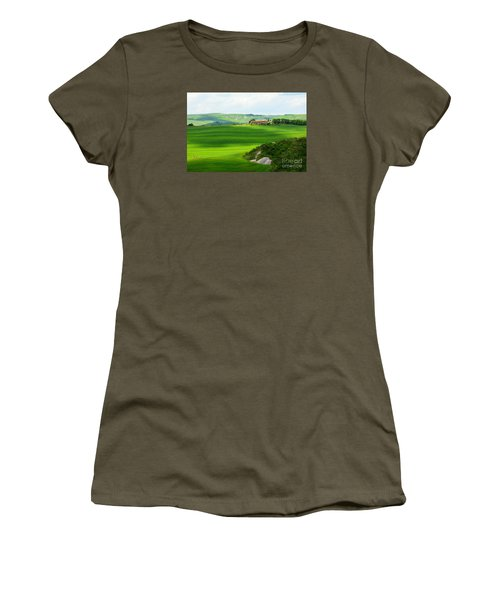 Green Escape In Tuscany Women's T-Shirt (Junior Cut) by Ramona Matei