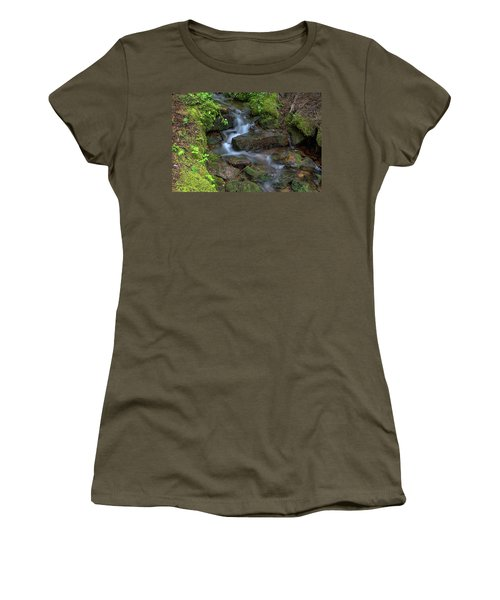 Women's T-Shirt (Athletic Fit) featuring the photograph Green Flowing Stream by James BO Insogna