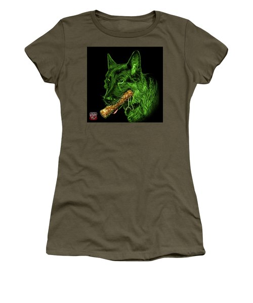 Green German Shepherd And Toy - 0745 F Women's T-Shirt
