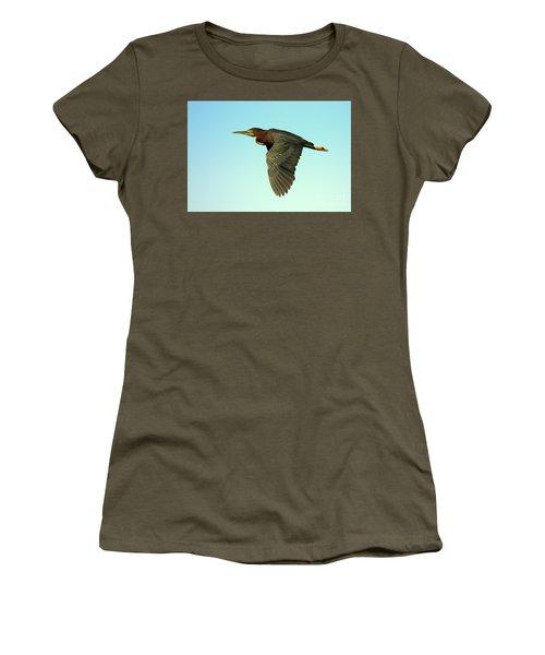 Green Heron Flight Women's T-Shirt (Junior Cut) by Myrna Bradshaw