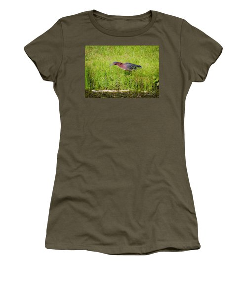 Women's T-Shirt (Athletic Fit) featuring the photograph Green Heron On The Hunt by Ricky L Jones
