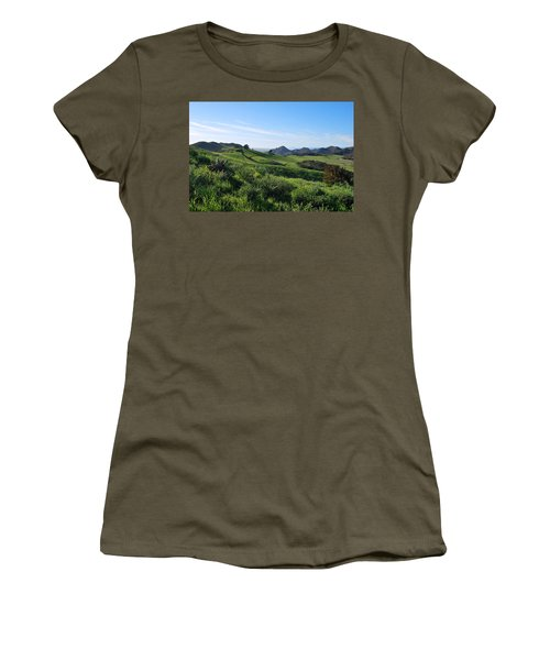 Women's T-Shirt (Athletic Fit) featuring the photograph Green Hills Landscape With Cactus by Matt Harang