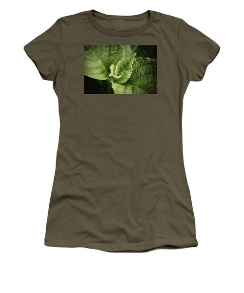 Women's T-Shirt (Junior Cut) featuring the photograph Green Leaves Abstract II by Marco Oliveira