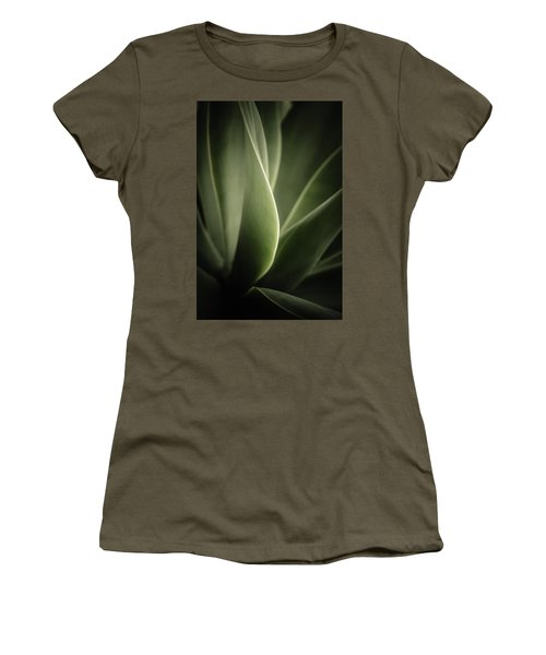 Women's T-Shirt (Junior Cut) featuring the photograph Green Leaves Abstract by Marco Oliveira