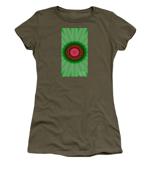 Green Mandala Painting By Sariblle Women's T-Shirt (Junior Cut) by Saribelle Rodriguez