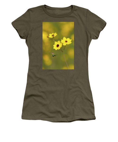 Green Metallic Bee Women's T-Shirt (Athletic Fit)