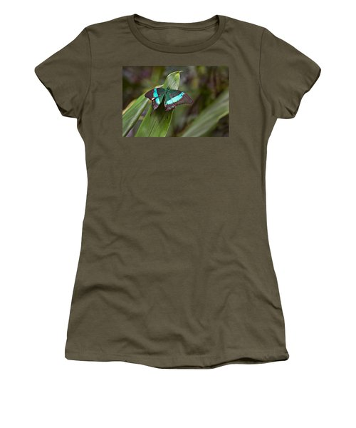 Green Moss Peacock Butterfly Women's T-Shirt (Junior Cut) by Peter J Sucy