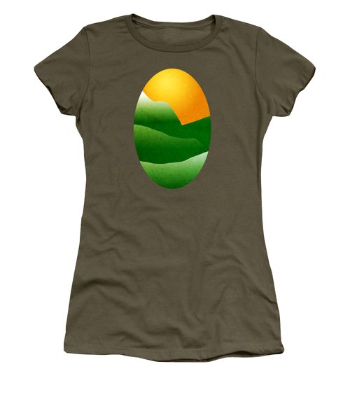 Green Mountain Sunrise Landscape Art Women's T-Shirt (Junior Cut) by Christina Rollo