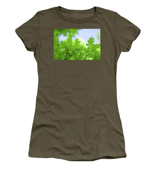 Green Oak Leaves Ad Blue Sky Women's T-Shirt