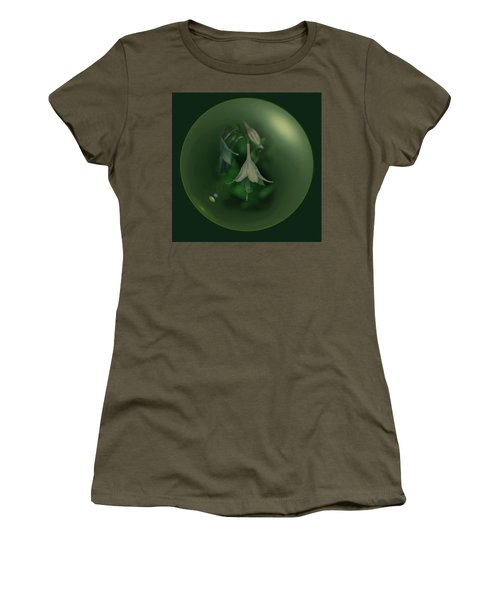 Women's T-Shirt featuring the digital art Green Orb Flower by Richard Ricci