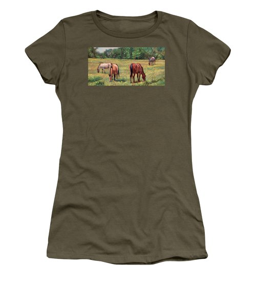 Green Pastures - Horses Grazing In A Field Women's T-Shirt (Junior Cut) by Bonnie Mason