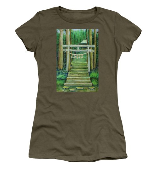 Women's T-Shirt (Junior Cut) featuring the drawing Green Stairway by Tim Ernst